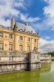 Vaux-le-Vicomte Frankrike Detalj av fasaden av huvudbyggnaden Arkivfoton