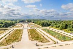 Vaux-le-Vicomte Frankrike Parkera, byggt av landskapsarkitekten Andre Le Notre Royaltyfri Fotografi