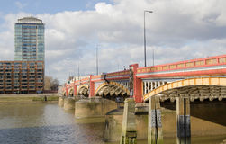 Vauxhall Bridge, London. View along Vauxhall Bridge from Vauxhall across the River Thames to Pimlico in Central London Stock Photography