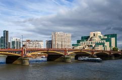 The Vauxhall bridge and the SIS building stock photography