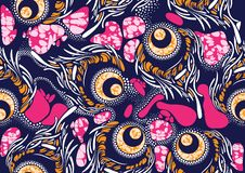 Vax för afrikanskt tyg för tryck för textilmode toppet stock illustrationer