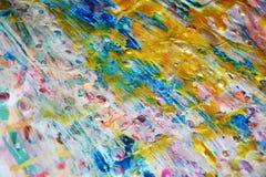 Vaxartad abstrakt bakgrund för guld- fläckar, livlig bakgrund för vattenfärg, textur Arkivfoton