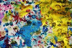 Vaxartade färgstänk för vattenfärg, abstrakt idérik bakgrund Royaltyfria Bilder