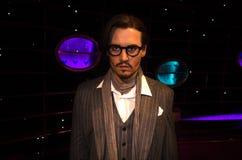 Vaxdiagram av Johnny Depp i museum för madam Tussauds i Wien arkivfoto