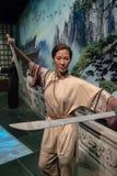 Vaxet arbetar madamtussauds statyetten, Michelle Yeoh inomhus berömd teckenkines Hong Kong fotografering för bildbyråer