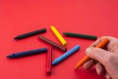 Vaxfärgpennor arkivfoto
