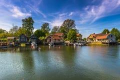 Vaxholm村庄,瑞典港口  免版税库存照片