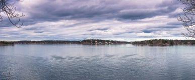 Vaxholm - 2017年4月07日:斯德哥尔摩群岛在Vaxholm, Swe 免版税库存图片
