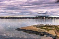 Vaxholm - 2017年4月07日:斯德哥尔摩群岛在Vaxholm, Swe 库存图片