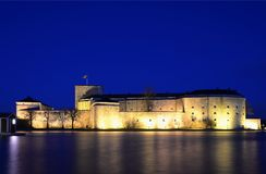Vaxholm castle at night Royalty Free Stock Image