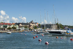 Vaxholm guest harbour Stockholm archipelago Royalty Free Stock Photo