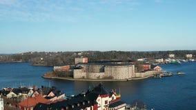 Vaxholms Fästning, εναέριο μήκος σε πόδηα απόθεμα βίντεο