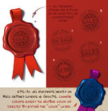 Vaxskyddsremsa - försäljningar och skatt frigör stock illustrationer