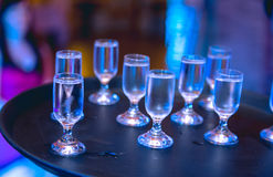 Vaya de fiesta el concepto con los vidrios de la vodka, compasition vivo Foto de archivo