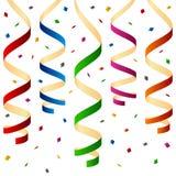 Vaya de fiesta los bobinadores de cintas en modo continuo y el confeti Imagen de archivo
