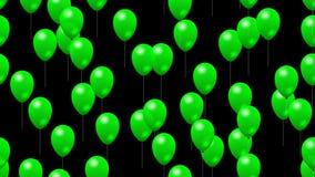 Vaya de fiesta los globos verdes generó el vídeo inconsútil del lazo con alfa stock de ilustración