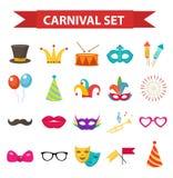 Vaya de fiesta los iconos, elemento del diseño, estilo plano Accesorios del carnaval, apoyos, aislados Imagen de archivo