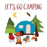 Vayamos ejemplo del vector del viaje que acampa - el acampar del verano Furgoneta que acampa azul con la hoguera, las sillas y la stock de ilustración