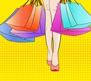 Vayamos a hacer compras Ilustración EPS 10 del vector estilo del arte pop viernes negro, venta estacional del otoño del invierno  Fotografía de archivo libre de regalías