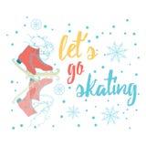 Vayamos a patinar Cartel de la tipografía con la figura dibujada mano patín del color Impresión de motivación Imagen de archivo