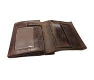 Vazio de couro da carteira isolado com o remendo do grampeamento incluído Imagens de Stock