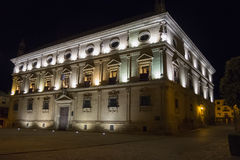 Vazquez de Molina Palace Palace of the Chains at night, Ubeda,. Spain Stock Image