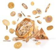VC充分大袋硬币;与金钱的被隔绝的幸运袋busines的 库存图片