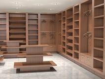 VC κενό κατάστημα με τα ξύλινα ράφια Στοκ εικόνα με δικαίωμα ελεύθερης χρήσης