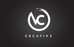 VC Circular Letter Logo with Circle Brush Design and Black Background. vector illustration