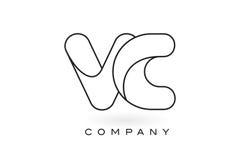 VC contorno del profilo di Logo With Thin Black Monogram della lettera del monogramma Fotografia Stock Libera da Diritti