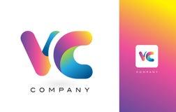 VC de Mooie Kleuren van Logo Letter With Rainbow Vibrant Kleurrijk t Royalty-vrije Stock Afbeelding