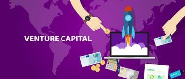 VC investeerder van het het geldcontante geld Risicodragend kapitaal van de start de financierende raketlancering stock illustratie