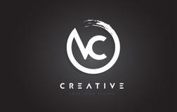 VC logotipo da letra circular com projeto da escova do círculo e preto Backg ilustração do vetor