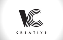 VC progettazione di Logo Letter With Black Lines Linea vettore Illus della lettera Immagini Stock Libere da Diritti