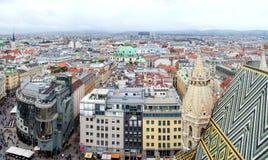 Vciew Wiedeń pejzaż miejski od StStephan katedry dachu Obrazy Royalty Free