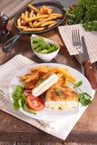 Vcordon bleu with fries Stock Photos