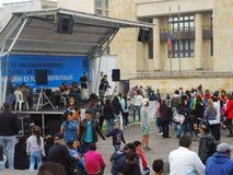 Víctimas de la violencia y estudiantes en protesta en Bogotá, Colombia Imagen de archivo