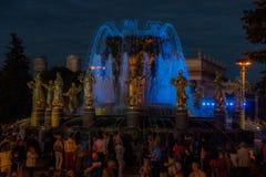 VDNH Выставка достижений национальных ресурсов moscow Лето Дружба народов фонтана Стоковые Фотографии RF
