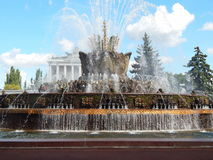 VDNH, Exhibition of Achievements,Moscow. Fountain Stone flower (1954). September, 2014. One of the favourite places for visiting and rest for moscovites and stock photo