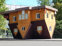 VDNH, Exhibition of Achievements,Moscow. A house upside down. September, 2014. One of the favourite places for visiting and rest for moscovites and tourists Royalty Free Stock Photography