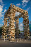 VDNH. Exhibition of achievements of national resources. Moscow. Summer.  Wooden installation. Stock Photography