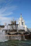 VDNKH公园建筑学在莫斯科 石花喷泉 免版税库存图片