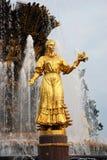 VDNKh市公园建筑学在莫斯科 人喷泉友谊 免版税图库摄影