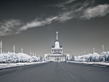 VDNKh. Main avenue. Infra-red photo. RUSSIA, MOSCOW - May 28,2014: View on a pavilion №1 from the main avenue of complex VDNKh. Infra-red photo Royalty Free Stock Photography