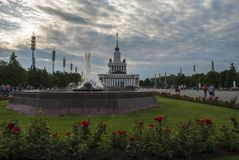 The VDNX Park in Moscow with roses Stock Photos