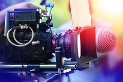 VDO grapher. Working with professional equipment in movie production Stock Image
