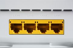 VDSL modem, łączący przyrząd dla modulacji i demodulacja, Sieć portów LAN zdjęcia royalty free