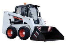 Veículo branco isolado da máquina escavadora Imagens de Stock Royalty Free