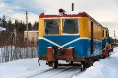 Veículo da estrada de ferro de Monza na cidade de Soligalich fotografia de stock