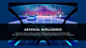 Veículo da inteligência artificial Bandeira do vetor ilustração do vetor